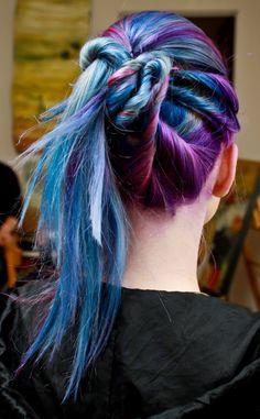 blue hair purple hair