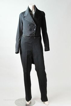 Rare Mens Circa 1810 Regency Wool Suit - Fall Front Trousers  M-Notch Tailcoat