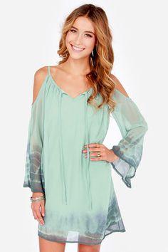 Breezy Does It Sage Green Tie-Dye Shift Dress