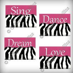 zebra print bedding for girls room | Zebra Print Wall Art Decor Sing Dance Dream by collagebycollins Zebra Room Girls, Zebra Print Girls Room, Zebra Bedroom For Girls, Girl'S Zebra Print Room, For Zebra Rooms Decorations