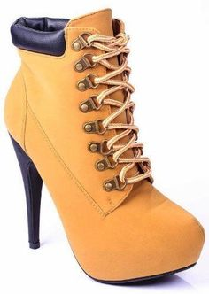 Jjf Shoes Compose-01 timberland style Lace Up Ankle Boots Stiletto High heel 7.5