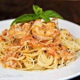 Spaghetti with Shrimp in a Creamy Tomato Sauce