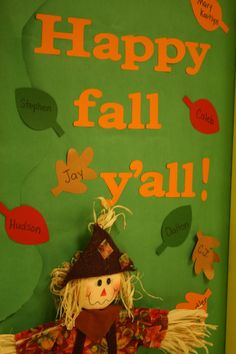 Fall school doors on pinterest minion school school for Autumn classroom decoration