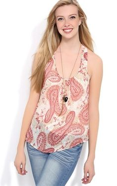Deb Shops #Paisley Racerback Tank Top with Tulip Back and Knit Underlay