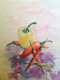 Paprikák rózsaszín háttérrel
