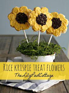 rice krispie treat flowers