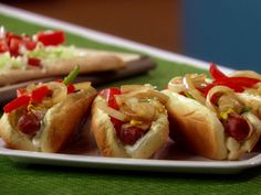 Fully Loaded Bacon-Wrapped Hot Dogs Recipe : Food Network - these were amazing!!