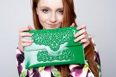 Brilliant clutch bag, statement handbag, vegan green clutch w/ leather like inner lining and pocket, high quality and well crafted design