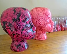 decoupage craft ideas; decoupaged mannequin heads for my craft room!