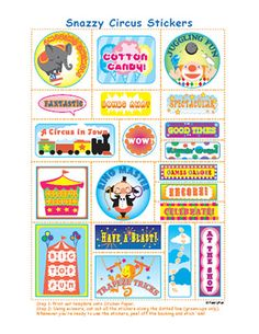 FREE PRINTABLES - Under the Circus Tent Stickers