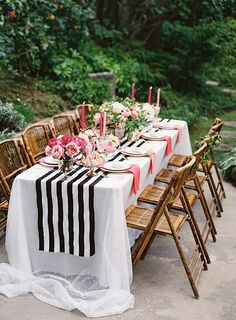 black gold pink party, black and white tables, black white gold pink, gold dinner, black white pink wedding, black pink and gold party, backyard dinner parties, black gold and pink wedding, black gold wedding pink
