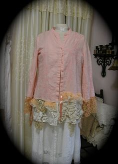 Pink Tunic Blouse refashioned altered couture by Dede of TatteredDelicates on Etsy