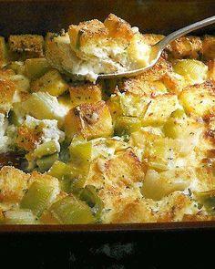 almond milk, leek bread, food, stuffed mushrooms, breads, bread pudding recipes, bread puddings, casserole recipes, vegetarian recipes