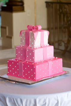 polka dots, baby shower cakes, baby shower ideas, pink cakes, girl baby showers, wedding cakes, baby shower themes, babi shower, birthday cakes