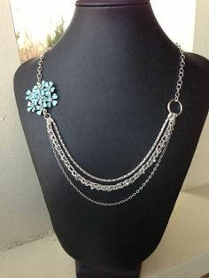 Vintage pin, crocheted wire and Swarovski crystal necklace. Cjewelry, 2012. Fargo, ND