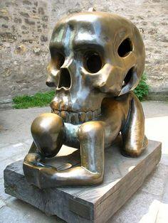 . skulls, sculptures, art, czech republic, skeleton, statu, czechrepubl skull, prague, pandas