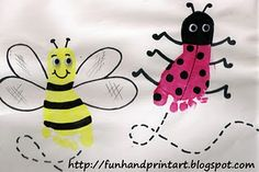 footprints, art crafts, footprint art, footprint crafts, handprint art, bug, spring craft, bumble bees, kid