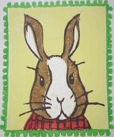 Some cute bunny. rabbit, easter, art project, art woodblock, art lesson, prints, lesson idea, children art, origin art