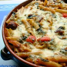 Make Ahead Italian Sausage and Pasta Bake. Trying with frozen spinach and whole wheat rotini.