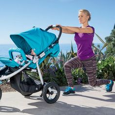 Work your butt, legs, chest and back with the walking lunge. More moves you can do with a stroller!