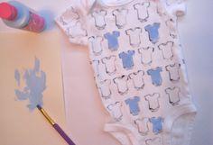 onesie onesie - see kate sew. Buy a plain white onesie, onesie stamp, fabric paint, and create!