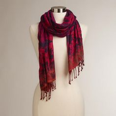 Purple and Red Jacquard Scarf