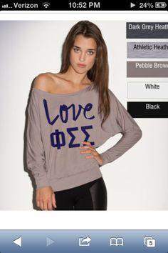 Phi Sig :) love it  http://somethinggreek.com/shop/shopexd.asp?prod=Phi+Sigma+Sigma+Long-Sleeve+Flowy+Off-The-Shoulder+Shirt=9884