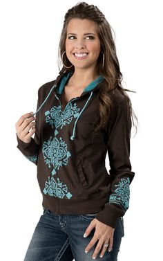 Pink Cattlelac® Women's Chocolate with Turquoise Embroidery Long Sleeve Hoody
