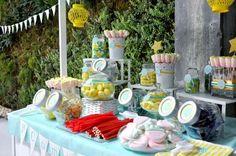 Aqua and yellow ice cream party