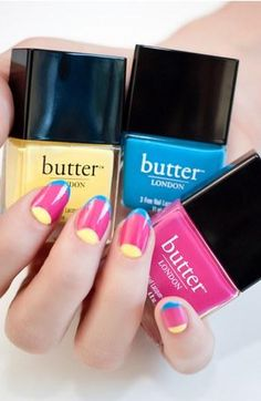 Colorblock nails in primary colors.