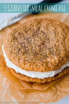 This simple recipe makes 1 Giant Oatmeal Creme Pie - like an old-fashioned Little Debbie, but bigger and better! Going in my chocolate file, so I won't forget about it!