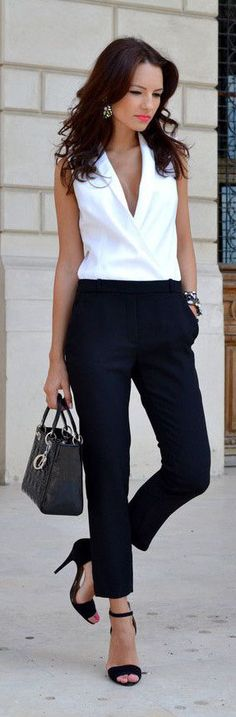 the office, black white, summer work outfits, office wear, business outfits fashion, black pants work outfit, office chic, black pants women office, black and white pants outfit