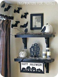 halloween decorations, glass doors, frame, bats, halloween black, shelves, black white, white shelv, homes