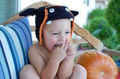 Crocheted Halloween Bat Hat