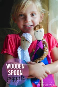"""'Frozen' Wooden Spoon Puppets from Reasons To Skip The Housework ("""",)"""