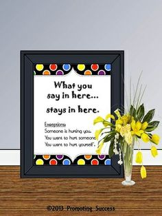 Counselor Poster: This printable poster would be great for a school counselor's office or teacher's classroom. It features a partial polka dot border and reads, What you say in here...stays in here. Exceptions: Someone is hurting you. You want to hurt someone. You want to hurt yourself.