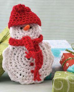 Free Crochet Snow Man Gift Card Cozy Pattern.