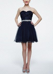 Amplify your style in this short and chicfloral bodicehomecoming dress!  Strapless sweetheart bodice features unique and intricatefloral detail.  Sparkling beaded empire waist creates a stunning focal point.  Short mesh skirt adds movement and finishes off this homecoming look.  Fully lined. Back zip. Imported polyester. Professional spot clean.