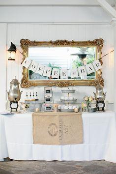 A good old-fashioned #coffee bar! See the wedding on SMP: http://www.StyleMePretty.com/2014/01/28/rustic-wedding-at-historic-cedarwood/ Photography: Kristyn Hogan