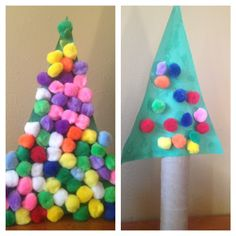 Tomorrows project!!!  Pom-Pom Christmas Tree Project- Easy for Toddlers
