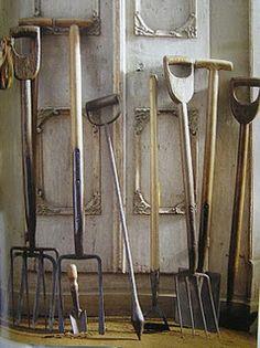 antique English garden tools
