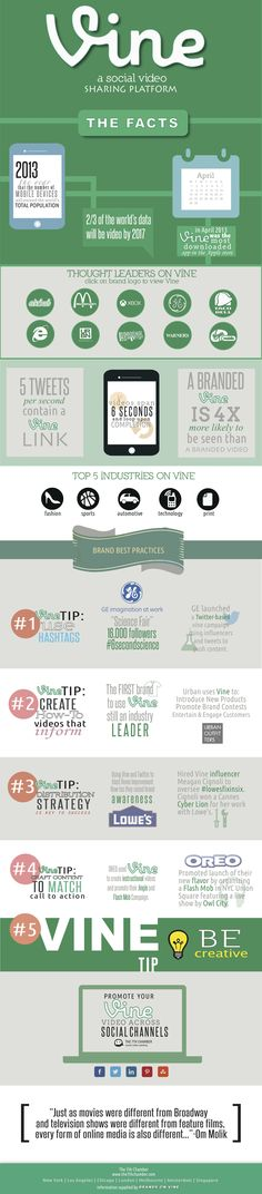 SOCIAL MEDIA -         A great infographic about social media platform Vine and short form video. #video #videomarketing.