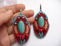Turquoise and Red Bead Embroidered Earrings