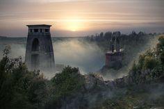 Imagined post-apocalyptic Clifton Suspension Bridge, Bristol.