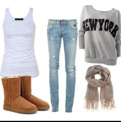 Wish | Casual Winter Outfit Boot, Day Outfits, Teenage Winter Outfits, Cloth, Casual Winter Outfit, Fall Outfits, Outfits With Sweatshirts, Casual Looks, Casual Outfits