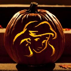 Look at this pumpkin, isn't it neat? Carve Ariel into your Jack O' Lantern!