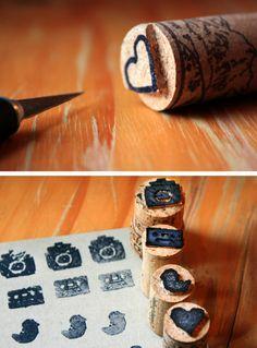 cork stamps party favors, idea, wine corks, craft, wine tasting, wine bottles, stamps, cork stamp, diy