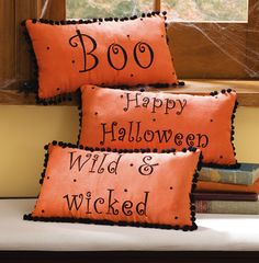 Orange Halloween Decorative Accent Pillow Set $14.99