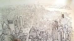 Empire State of Pen - Lower Manhatten from the Empire State Building, #drawing by Patrick Vale + #video http://www.patrickvale.co.uk/