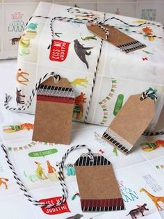Cereal box gift tags.